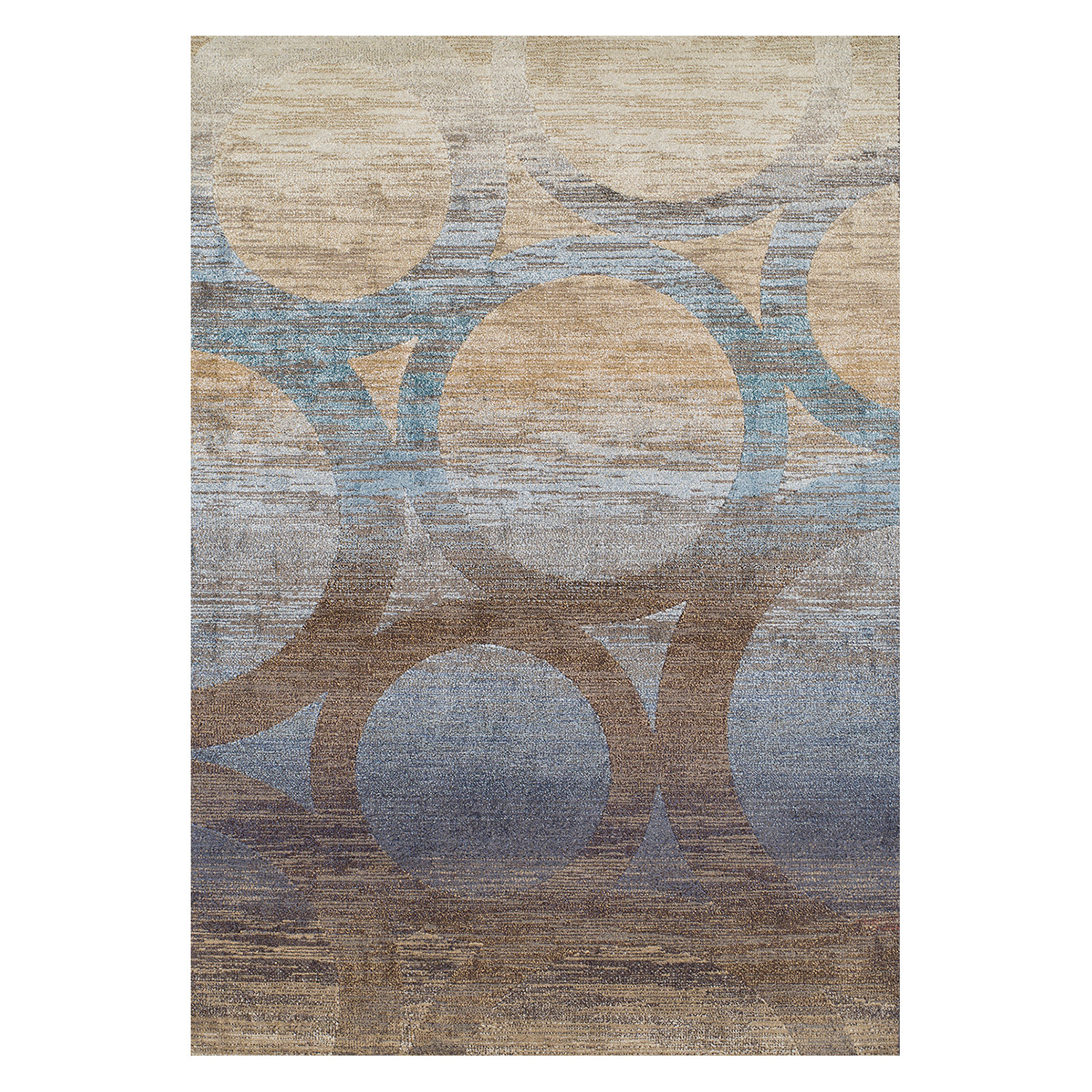Persian Rugs Wellington: Wellington // Eroded Circles // Brown + Blue Area Rug (5'3