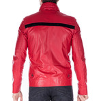 Hollow Leather Jacket // Red (S)