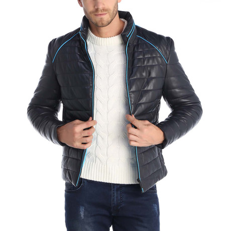 Pacific Leather Jacket // Navy + Blue (S)
