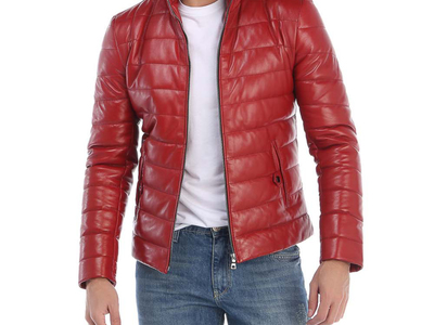 Photo of Giorgio di Mare Classically Cool Leather Jackets Folsom Leather Jacket // Red (S) by Touch Of Modern