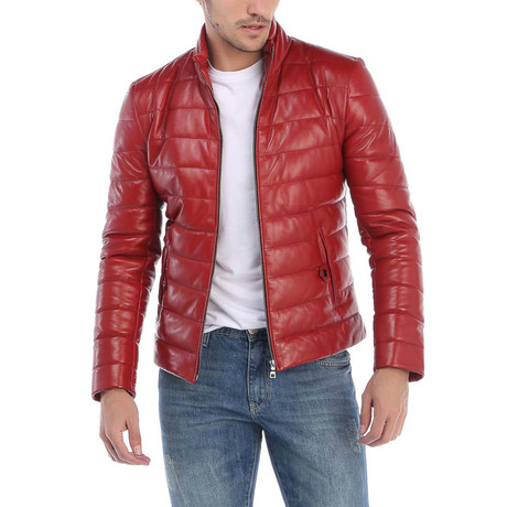 Folsom Leather Jacket // Red (L)