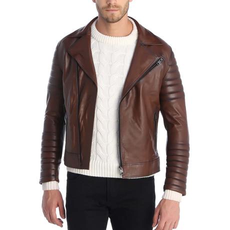 Noe Leather Jacket // Brown (S)