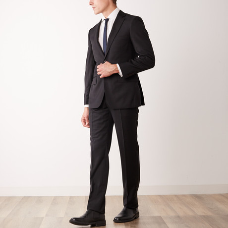 Via Roma // Classic Fit Half-Canvas Suit // Black (US: 36S)