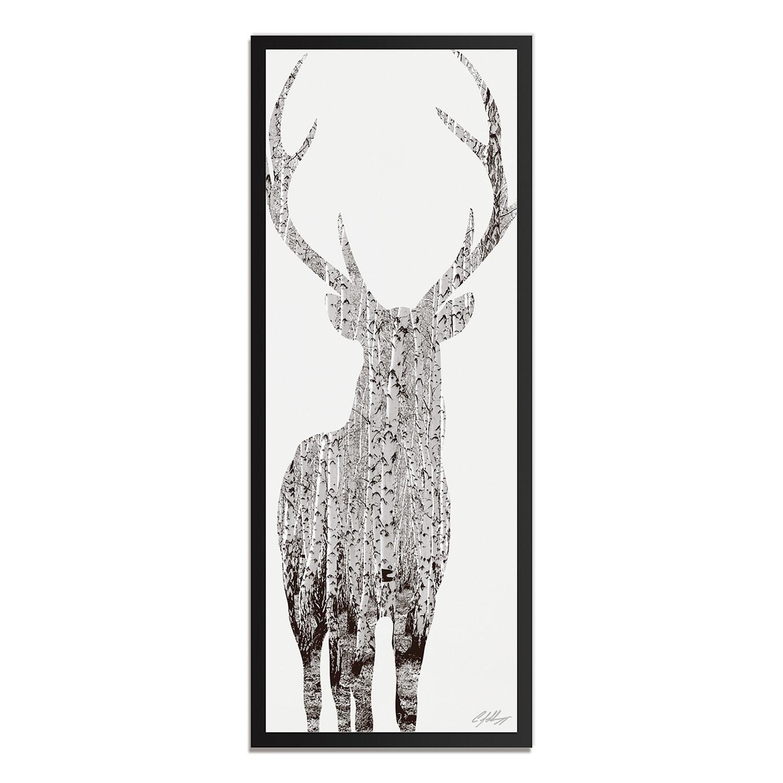 Birch Deer // Black Frame (48\