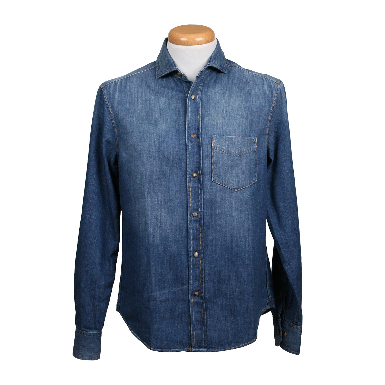 8b16ecb3c3 Leisure Fit Long Sleeve Chambray Denim Shirt    Faded Dark Blue (XS ...