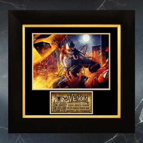Venom Vs Spider-Man // Tom Holland, Tom Hardy + Stan Lee Signed Promotion Art Photo // Custom Frame