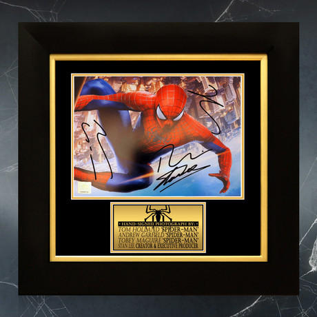 Spider-Man City // Tom Holland, Tobey Maguire, Andrew Garfield + Stan Lee Signed Photo // Custom Frame