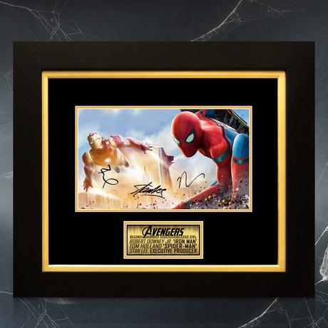 Iron Man + Spider-Man // Tom Holland, Robert Downey Jr. + Stan Lee Signed Promotional Art Photo // Custom Frame