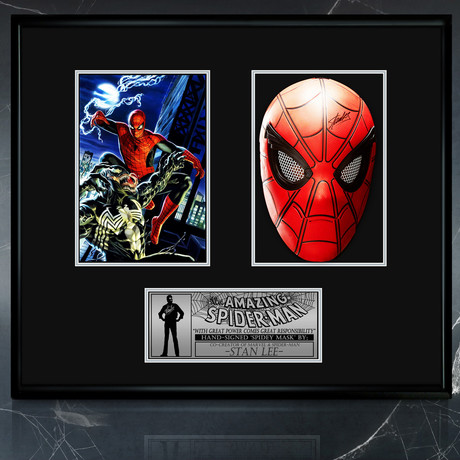 Spider-Man // Stan Lee Signed Mask // Custom Shadow Box Frame