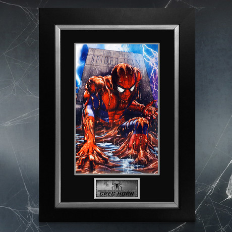 Death Of Spider-Man // Greg Horn Signed Original Art Print // Custom Frame