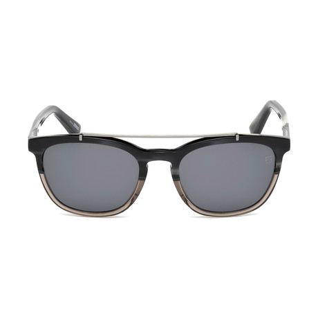 Zegna // Men's Top Bar Sunglasses // Colored Horn + Smoke