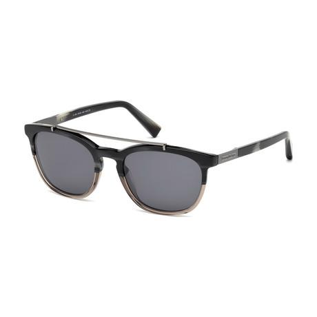 Zegna // Men's Top Bar Sunglasses // Colored Horn + Smoke