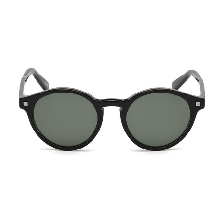 Zegna // Classic Round Sunglasses // Black + Green