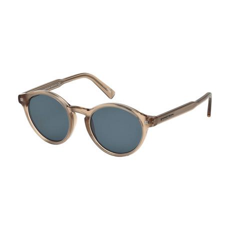 Zegna // Men's Classic Round Sunglasses // Shiny Light Brown + Blue