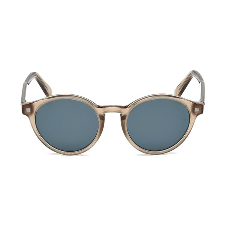 Zegna // Men's Classic Round Sunglasses // Shiny Light Brown + Blue