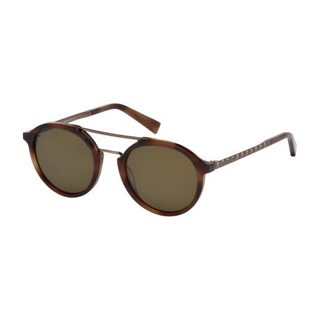 Zegna // Men's Classic Havana Sunglasses // Dark Havana + Brown