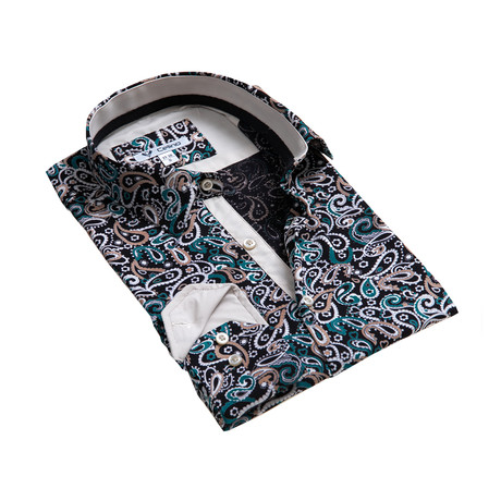 Paisley Reversible Cuff Button Down Shirt // Black + Multicolor (S)