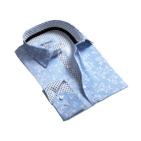 Celino // Reversible Cuff Button-Down Shirt // Bluish Gray Floral (S)