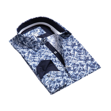 Reversible Cuff Button-Down Shirt // Blue + White Graphic Design (S)