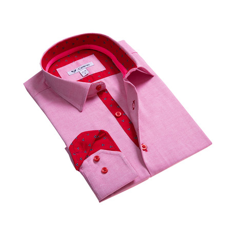 Solid Reversible Cuff Button Down Shirt // Pink + Red (S)