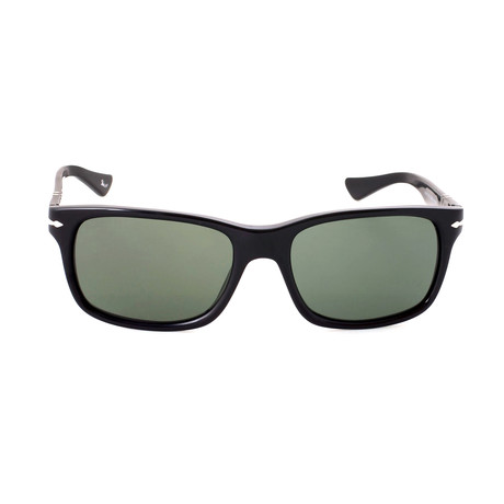 Squared Sunglasses // Black + Green (55mm)