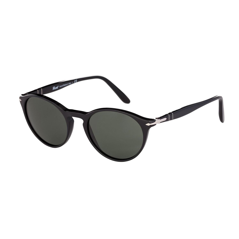 Persol Classic Round Sunglasses // Black + Green