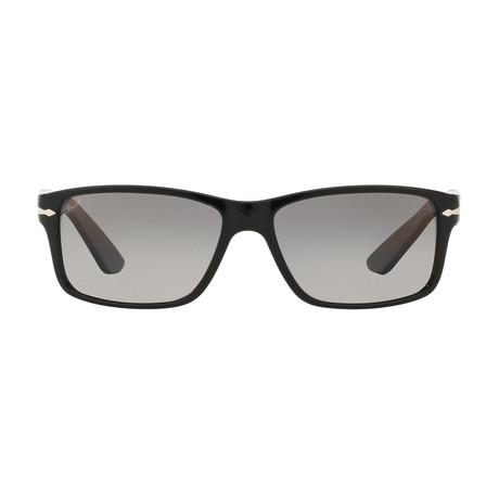 Persol Square Sungasses // Black + Grey Polarzed