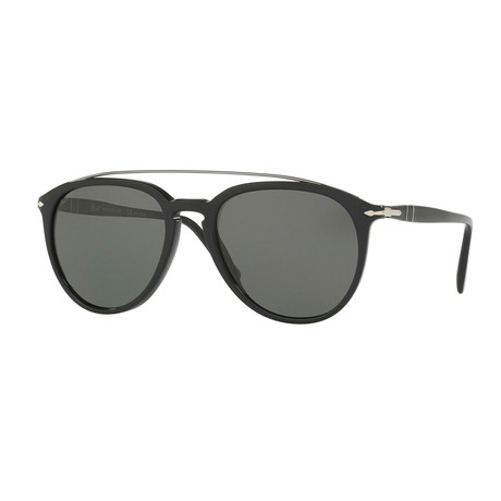 Persol Men's Metal Bridge Sunglasses // Black + Green Polarized