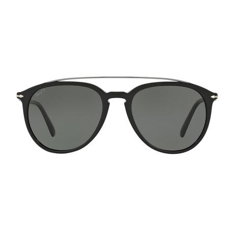 Persol // Metal Bridge Sunglasses // Black + Green Polarized