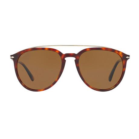 Persol Metal Bridge Sunglasses // Havana + Brown Polarized