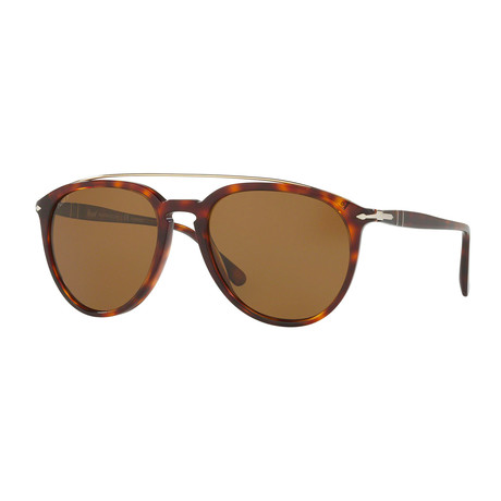 Persol Men's Metal Bridge Sunglasses // Havana + Brown Polarized