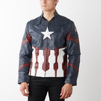 Captain America Leather Jacket // Blue (XS)