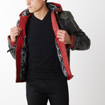 Red Hood Leather Jacket with Hood // Red + Gray (3XL)