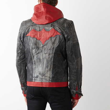 Red Hood Leather Jacket with Hood // Red + Gray (XS)