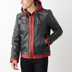 Red Hood Leather Jacket with Hood // Red + Gray (L)