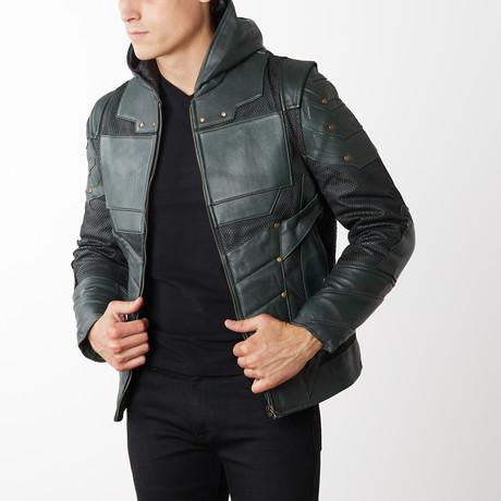 Green Arrow Leather Jacket + Hood // Green (XS)