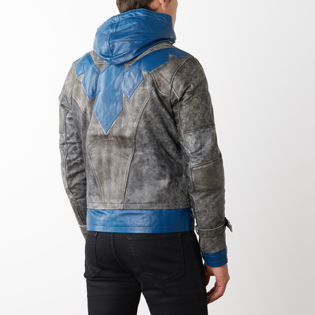 Nightwing Hooded Leather Jacket // Gray + Blue (L)