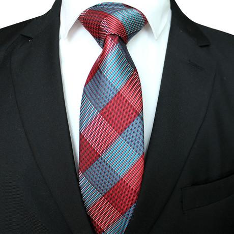 Handmade Neck Tie // Red Cross Stripe