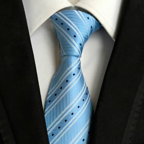Handmade Neck Tie // Light Blue Stripe