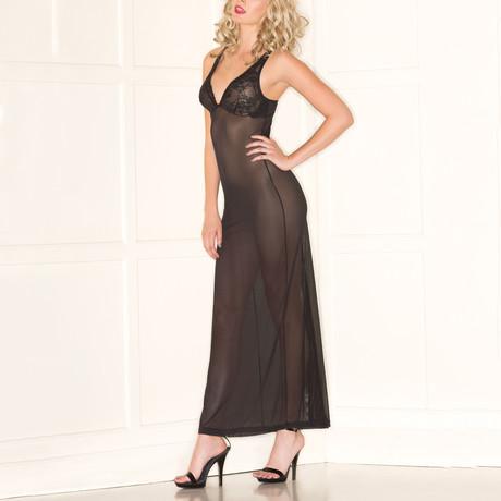 Lace Cup 2-Piece Sheer Dress // Black (S-M)