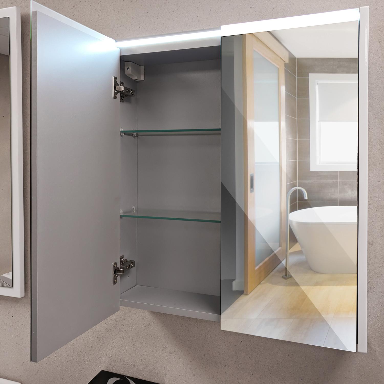 Double Mirror Bathroom Medicine Cabinet Horizontal Led Light Strip