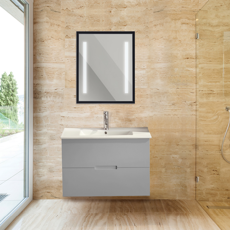 "Retro Collection LED Bathroom Mirror // 23"" x 35"" // Black ..."