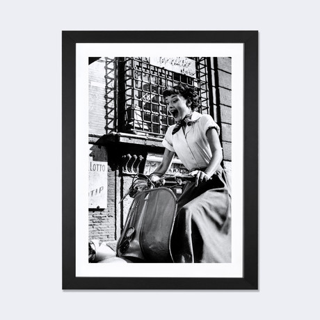 "Audrey Hepburn Roman Holiday Riding Vespa // Movie Star News (24""W x 16""H x 1""D)"