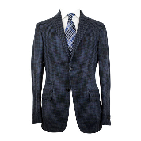 Ermenegildo Zegna // Cashmere Slim Trim Fit 2 Button Sport Coat // Black + Blue (US: 48R)
