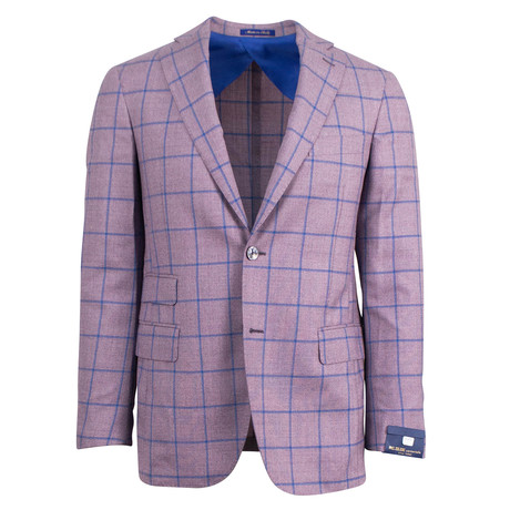 Pal Zileri Sartoriale Blue Label // Windowpane Wool Sport Coat // Purple // Free Kiton Pocket Square (US: 46R)