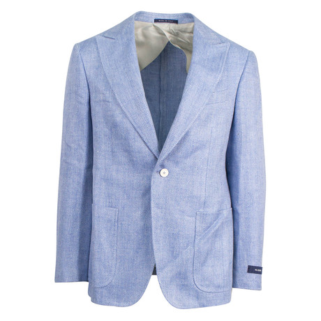 Pal Zileri Sartoriale Blue Label // Herringbone Hemp Sport Coat // Blue + Free Kiton Pocket Square (Euro: 46)
