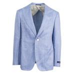 Pal Zileri Sartoriale Blue Label // Herringbone Hemp Sport Coat // Blue + Free Kiton Pocket Square (Euro: 50)