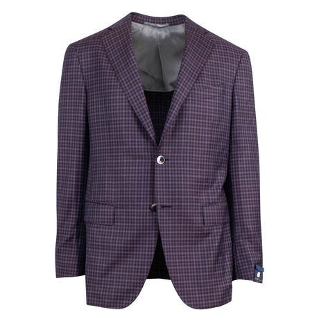 Pal Zileri Sartoriale Blue Label // Check Sport Coat // Purple + Free Kiton Pocket Square (Euro: 46)