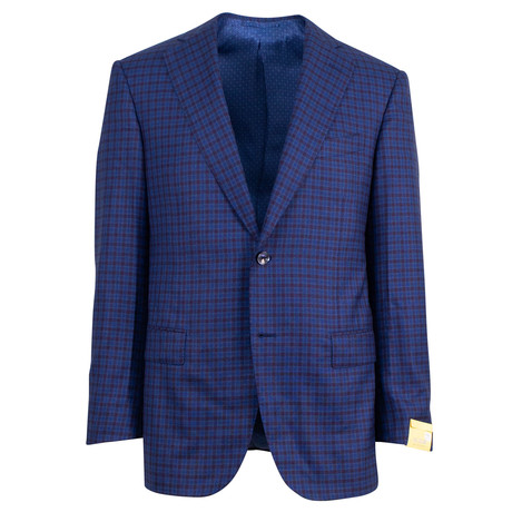 Pal Zileri Sartoriale Blue Label // Plaid 2 Button Sport Coat // Blue + Free Kiton Pocket Square (Euro: 46)