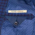 Pal Zileri Sartoriale Blue Label // Plaid 2 Button Sport Coat // Blue + Free Kiton Pocket Square (Euro: 46)